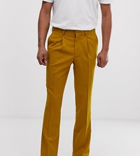 Heart And Dagger Slim Fit Smart Trousers In Mustard Yellow