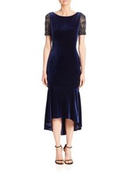 Theia Fit And Flare Short Sleeve Dress Sapphire