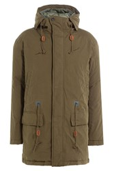 Closed Hooded Parka With Drawstring Waist Green