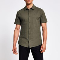 River Island Maison Riviera Khaki Slim Fit Pique Shirt