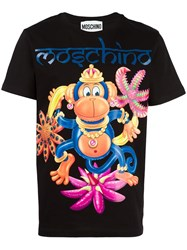 Moschino Monkey Print T Shirt Black