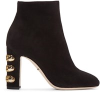 Dolce And Gabbana Black Suede Military Boots