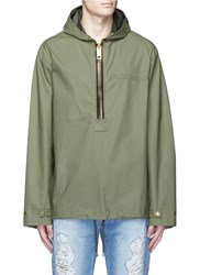 Palm Angels Oversized Hooded Military Anorak Green