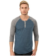 Alternative Apparel 3 4 Raglan Henley Eco True Mineral Blue Men's Long Sleeve Pullover
