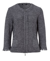 Olsen Frayed Knitted Jacket Black