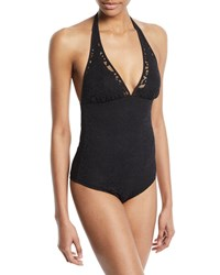 Shan May Lace Halter One Piece Swimsuit Black