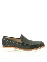 A. Testoni Perforated Moc Toe Loafers Uniform