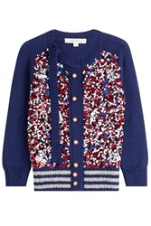 Marc Jacobs Sequin Wool Blend Cardigan Blue