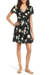 Lush Women's Olivia Wrap Dress Black Blue Floral