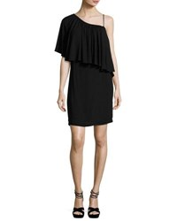 Ella Moss One Shoulder Popover Mini Dress Black