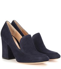 Gianvito Rossi Suede Loafer Pumps Blue