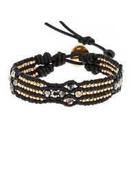 Chan Luu Faceted Bead And Leather Bracelet