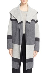 Vince Women's Colorblock Wool And Cashmere Knit Car Coat Heather Steal Stone Carbon