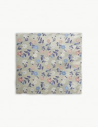 Duchamp Daisy Floral Print Silk Pocket Square White
