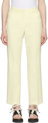 Carven Off White Crepe Cropped Flared Trousers