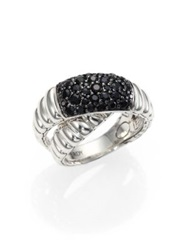 John Hardy Bedeg Black Sapphire And Sterling Silver Crossover Ring Blue