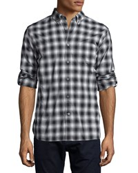 John Varvatos Star Usa Check Roll Tab Woven Shirt Charcoal Grey