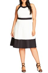City Chic Plus Size Women's Fit And Flare Dress Ivory