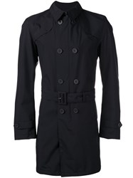 Herno Slim Fit Trench Coat Blue