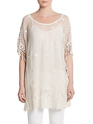 Saks Fifth Avenue Lace Trim Embroidered Silk Blend Tunic Beige