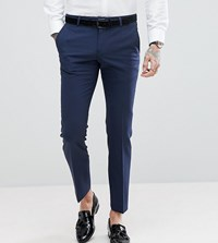 Noose And Monkey Super Skinny Wool Mix Suit Pants In Navy Navy