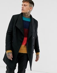 Religion Funnel Neck Overcoat With Pockets In Black