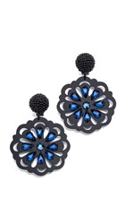 Oscar De La Renta Crystal Laser Cut Clip On Earrings Black