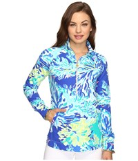 Lilly Pulitzer Skipper Popover Brilliant Blue Wade And Sea Women's Long Sleeve Pullover