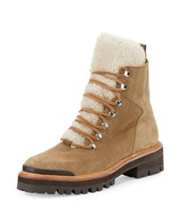 Sigerson Morrison Isa Shearling Fur Lined Hiking Boot Brown Dark