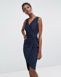 Wal G Sleeveless Asymmetric Dress Navy