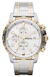 Fossil Notched Bezel Chronograph Bracelet Watch 45Mm Silver Gold
