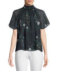 Camilla And Marc Arlen Short Sleeve Silk Top Dark Green