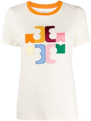 Tory Burch Colour Block Logo T Shirt Neutrals