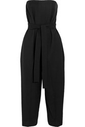 Mcq By Alexander Mcqueen Strapless Cropped Stretch Wool Jumpsuit Black