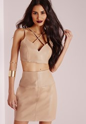 Missguided Faux Leather Cross Strap Plunge Bralet Camel Beige