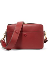Anya Hindmarch Stack Leather And Suede Shoulder Bag Red