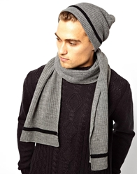 French Connection Beanie And Scarf Giftset Grey
