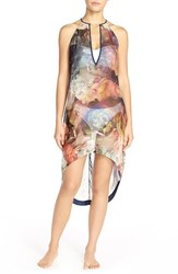 Women's Ted Baker London 'Technicolor Bloom' Floral High Low Cover Up