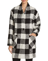 Sanctuary Check Print Cocoon Coat 100 Bloomingdale's Exclusive Black Creme
