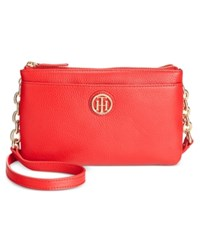 Tommy Hilfiger Double Zipper Pebble Leather Crossbody Racing Red