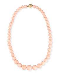 Assael Graduated Angel Skin Coral Bead Necklace With Diamond Clasp 1.09 Tdcw