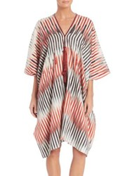 Josie Natori Beachy Cotton And Silk Caftan Coverup Red Multi