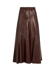 Sonia Rykiel Leather A Line Midi Skirt Burgundy