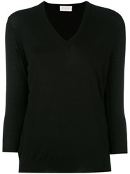 Zanone V Neck Sweater Women Virgin Wool 44 Black