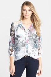 Kut From The Kloth 'Marrilee' Floral Print V Neck Blouse Pink