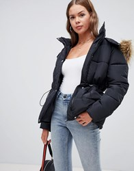 Boohoo Padded Coat With Fur Trim And Waist Detail In Black Black