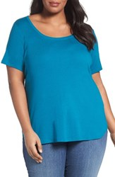 Sejour Plus Size Women's Scoop Neck Tee Teal Ocean