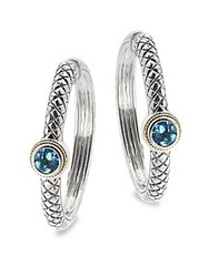 Effy Blue Topaz 18K Yellow Gold And Sterling Silver Hoop Earrings
