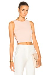 Jonathan Simkhai Fwrd Exclusive Knit Lace Up Top In Neutrals
