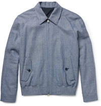Dunhill Checked Wool Mulberry Silk And Linen Blend Jacket Blue